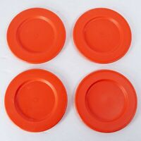 "Vintage Tupperware Mini Child Toy Plates Red / Orange - Set of 4 - 3"" Diameter"