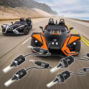 4x 6000K Brightness LED Headlights Kit For Polaris Slingshot LIFETIME WARRANTY