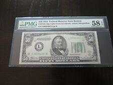1934 San Francisco $50 FRN Note FR#2102-Llgs ~ PMG Error AU58 EPQ ~ Light Green