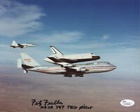 FITZ FULTON HAND SIGNED 8x10 COLOR PHOTO      NASA TEST PILOT WITH 747       JSA