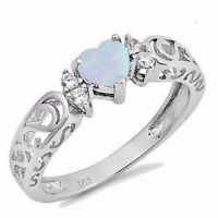 USA Seller Heart Ring Sterling Silver 925 Best Jewelry Selectable White Opal