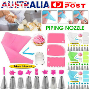 14 Pcs Silicone Icing Piping Nozzle Cream Pastry Bag + 8PCS Stainless Steel