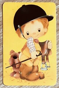 "Vintage Swap Card "" Saddle Up Cute Boy & Dog "" Blank Back near Mint"
