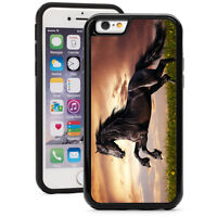 For iPhone X XS Max XR 7 8 Plus Shockproof Hard Case 218 Black Galloping Horse