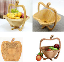 Foldable Fruit Storage Basket Bamboo Kitchen Organizer Wooden Holder Bowl
