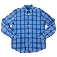 American Eagle Outfitters Mens M Blue Windowpane Plaid Pattern Long Sleeve Shirt