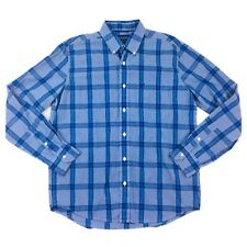 American Eagle Outfitters Mens M Blue Windowpane Plaid Pattern Long Sleeve Shirt