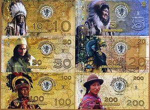 POLYMER SET, El Club De La Moneda, 5;10;20;50;100;200 2016 > Native Americans