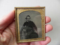 ANTIQUE AMBROTYPE PHOTO~YOUNG MAN PENETRATING GAZE~VICTORIAN/19th CENTURY/1800s