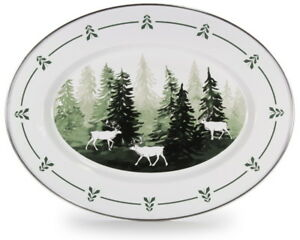 Golden Rabbit Enamelware Forest Glen Oval Serving Platter Lodge Style