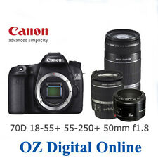 NEW Canon EOS 70D Tri-lens Kit 18-55mm IS STM + 55-250mm IS II + 50mm f/1.8 II