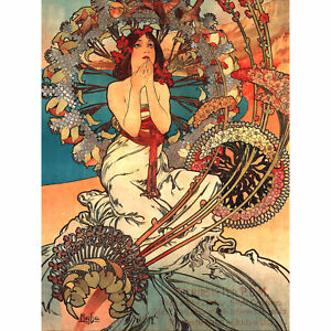 Mucha Art Nouveau Woman Floral Large Wall Art Print 18X24 In