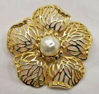 1960s Vintage Goldtone Filigree Petal Flower Brooch Pin Faux Baroque Pearl 7613F