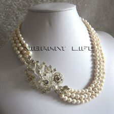 "18-20"" 6-7mm 3 Row White Freshwater Pearl Strand Necklace X2327"