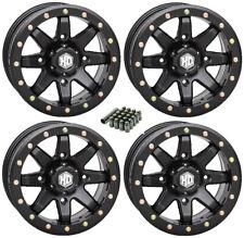 STI HD9 Beadlock UTV Sand Wheels Matte Black 14x8 & 14x10 Polaris RZR Set of 4