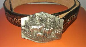 "GAVARE Leather Belt  Deer Hunter/ SISKIYOU  Deer Buckle  33 - 34"" waist Buck Doe"