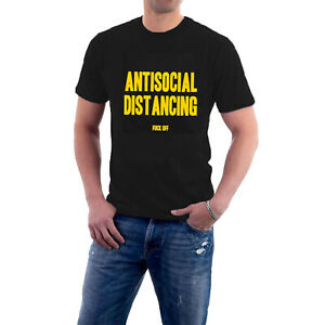 Antisocial Distancing T-shirt Go Away / F**k Off Social Face Mask Space Tee