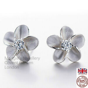 """UK """" Forget Me Not"""" Sterling Silver Earrings Made with Swaroski Elements Boxed"""