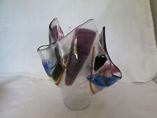 Frog Valley Hankerchief Vase Art Glass Geometric Design Veronica Wilson