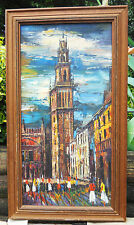 BEAUTIFUL PARIS CITYSCAPE OIL PAINTING ON STRETCHED CANVIS**15X27 FRAME**SIGNED