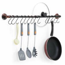 Kitchen Wall Mount Rail with 14 S Hooks Pot Pan Lid Rack Utensil Holder