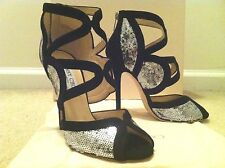JIMMY CHOO $995 122 TEMPEST SILVER SEQUIN PEEP TOE STILETTO/PUMP/HEEL! 36.5  6.5