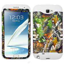 White Hybrid Cover for Samsung Galaxy Note II 2 N7100 Phone Case Tree Leaf Camo