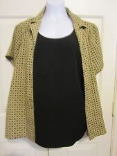 ELEMENTZ Size XL 2 Fer Blouse With Attached Cami Diamonds Yellow Red Black