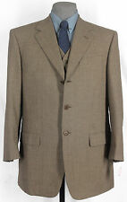 """NEW MABRO BY ISAIA SUPER 100_WOOL_BRONZE HOUNDS TOOTH """"3 PIECE"""" SUIT 40+R 12951"""