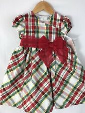 NWT Bonnie Baby Christmas Holiday Plaid Green Red Gold Metallic Dress 24 months