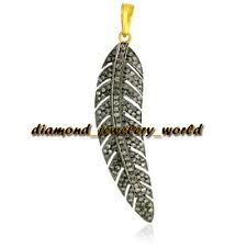 Diamond Silver Feather Pendant Jewelry Estate Victorian 1.71cts Genuine Rose Cut