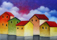 Original ACEO ART oil MINIATURE cloudy cityscape colorfull houses fantasy