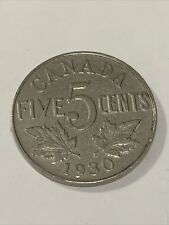 1930 CANADA 5 cents KING GEORGE V NICKEL COIN