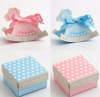 Baby Favour Boxes Blue Pink Boy Girl Shower Christening Rocking Horse Stars DIY