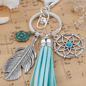 Silver Dreamcatcher Key Ring Bag Charm with turquoise tassel feather & flower