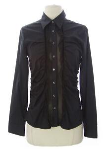 WALTER VOULAZ Women's Black Long Sleeve Ruffled Blouse C0619 $274 NEW