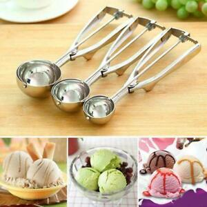 3PC Ice Cream Scoop Food Stainless Steel with Trigger Cookie Spoons Set S+M+L