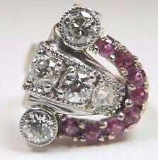 Retro Vintage Diamond Ruby Engagement Ring Size 4.25 14K Rose + White Gold Fine