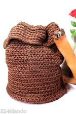 RUCO LINE Crocheted Brown Cotton Duffle Sling Shoulder Bag Italy $1,395