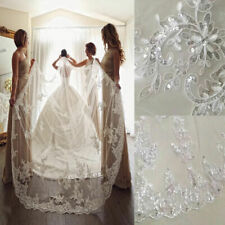 Shiny Sequins Wedding Veils Bridal Cathedral Length + Comb Applique White Ivory