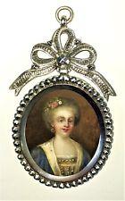 MINIATURE. PORTRAIT DE DAME. EN MEDAILLON D'ARGENT. FRANCE. XVIIIÈME SIÈCLE
