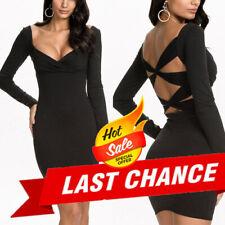 Stretch Bodycon Criss Cross Long Sleeved Clubwear Mini Dress Medium/Plus Sizes