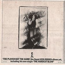 JESS RODEN The Player Not The Game 1977 UK Press ADVERT 7x7 inches
