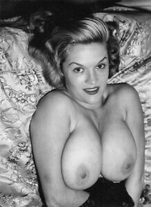 1960s Pinup Nude B. Paula Page Lying in Bed Huge Breasts  8 x 10 Photograph