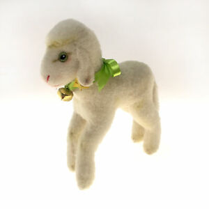 """Vintage 8.75"""" LAMBY Steiff White Lamb Ear Button, Tag & Bell 1950s (#3450/22)"""