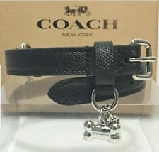 Authentic COACH Dog Collar Large Black Leather in Gift Box