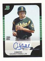 2005 Bowman Autographs 141 Omar Quintanilla Oakland Athletics Auto Baseball Card