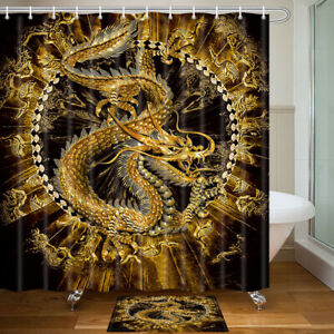 Ancient Mythical Dragon Shower Curtain Bathroom Decor Fabric 12hooks 71in