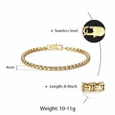 """Stainless Steel Box Link Chain Bracelet Lobster Clasp Jewelry with Pouch 8/9/10"""""""