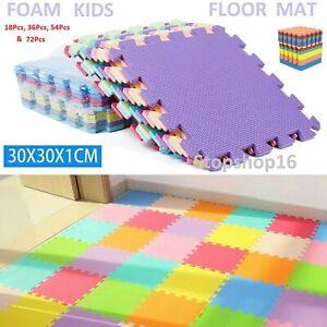 18-72Pc Large EVA Foam Kids Floor Mat Jigsaw Tiles Interlocking Garden Play Mats